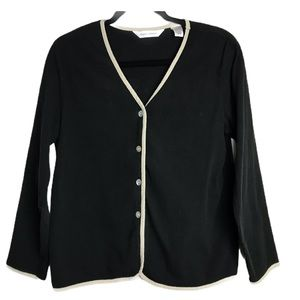 Draper & Damon Black Textured Knit Vntg Cardigan